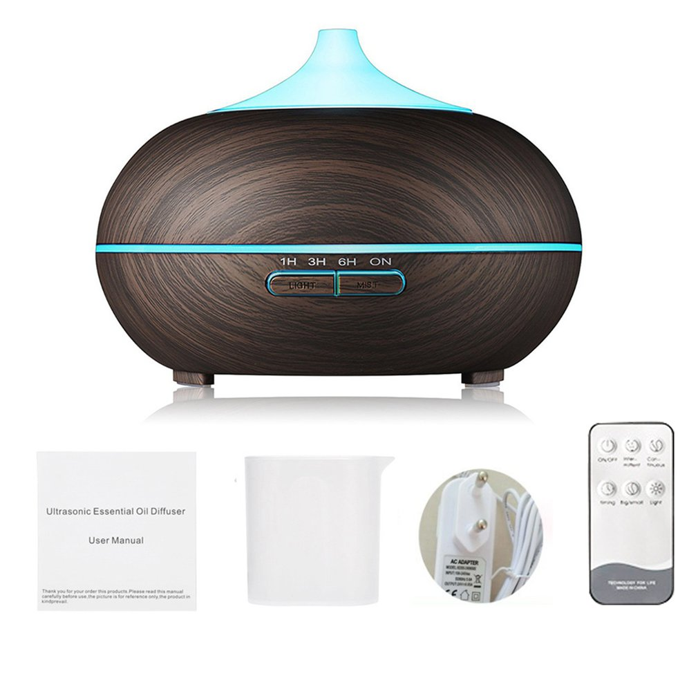 550ml Remote Control Ultrasonic Air Humidifier Aroma Essential Oil Diffuser With Wood Grain 7 Color Changing LED Lights