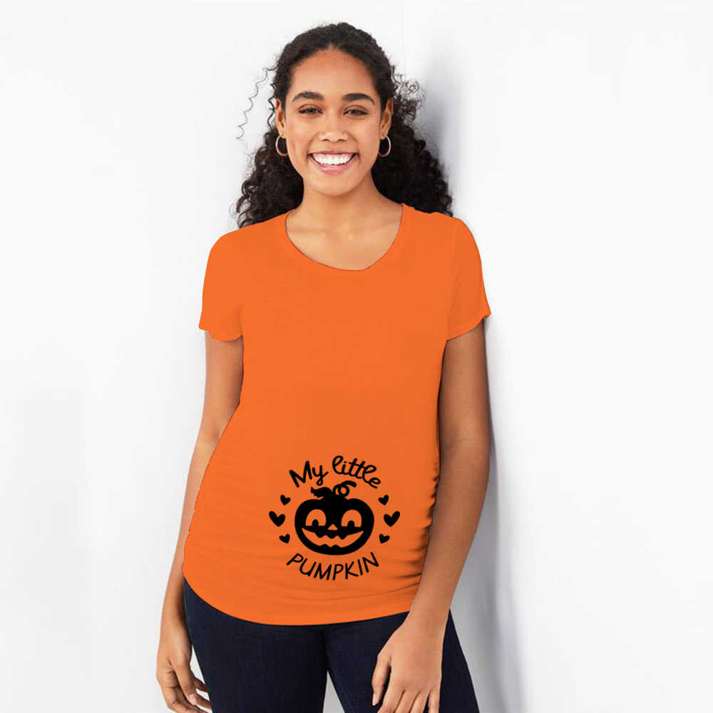Pregnant Woman Halloween T Shirt Little Pumpkin Print Funny Short Sleeve Maternity T-shirt Clothes Pregnancy Plus Size Shirts