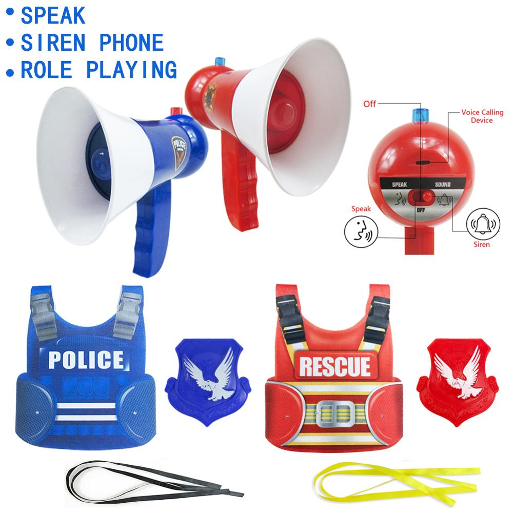 Christmas Halloween Police Vest Costumes Uniform Cosplay Funny Voice Amplifier Toy Educational Children Kids Toys Birthday Gift