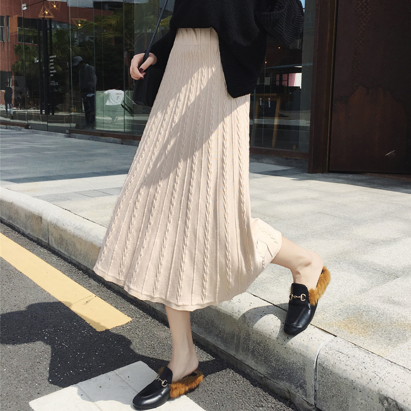 2019 New Style Autumn And Winter Mid-length Thick Slimming High-waisted A- Line Skirt-Style Long Skirts Thread Knitted Skirt Wom