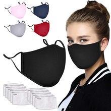 Máscara de 5 pces com 12 pces substituível filtrar válvula respirável pm 2.5 anti-poluição máscara adequada para mulher e homem dropshipping
