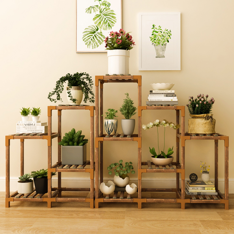 Wood Flower Airs Household A Living Room Shelf Multi-storey Indoor Green Radish Meat Landing Type Potted Plant Flowerpot Frame