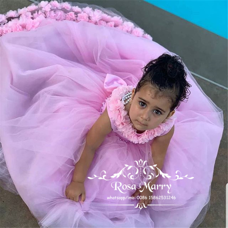 Pink 3D Floral   Flower     Girls     Dresses   For Wedding 2020 A Line Open Back Knot Bow Cheap Tulle   Girls   Birthday First Communion Gowns