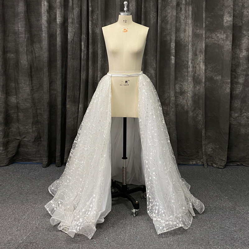 In Stock Free Size Detachable Overskirt Removable Skirt Wedding Dress Accessories Sequined Tulle Train