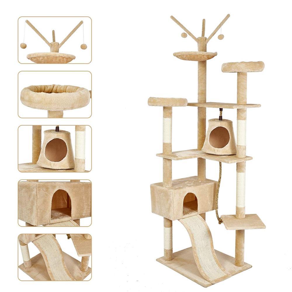 Gato poste para rascar s sisal Big Cat Tree Tower mueble de condominio poste para rascar juguete saltarín con escalera para gatitos Pet House Play C05 - 4