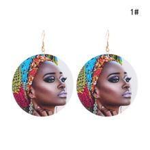 Statement African Woman Printed Portrait Earrings Personality Ethnic Art Painting Retro Smart Blacks Wooden Ear Jewelry Gifts