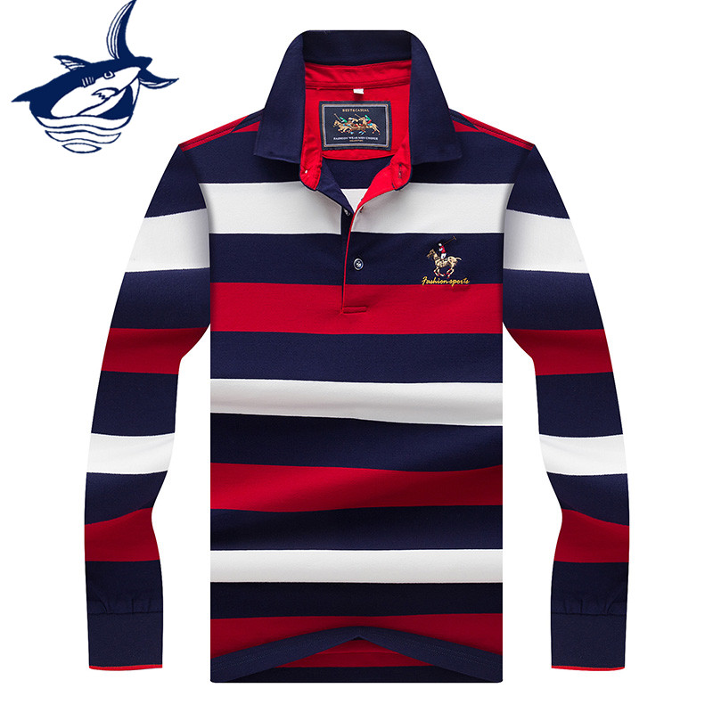 Mens Embroidered Casual Polo Shirts Long Sleeve Warm Cotton Striped Polo T Shirt
