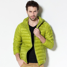 Men White Duck Down Jacket 2019 New Portable Hooded Down Coat Ultralight Men Winter Coat Warm Thermal Down Parkas 4XL 5XL 6XL cheap REGULAR Casual zipper Full Zippers Pockets STANDARD Broadcloth NYLON NONE 100g-150g Solid 400g Fashion
