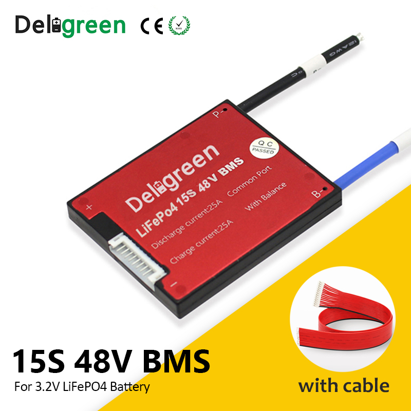 Deligreen 15S 54V <font><b>bms</b></font> <font><b>20A</b></font> 30A 40A 50A 60A PCB for 18650 li-ion battery pack 3.2v rated Lifepo4 battery pack with waterproof image