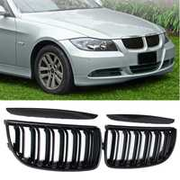 For BMW E90 E91 4 Door 2005 2006 2007 2008 #GCP-039011 Pair Front Gloss Black Double Slat Sport Kidney Grille Grill Set