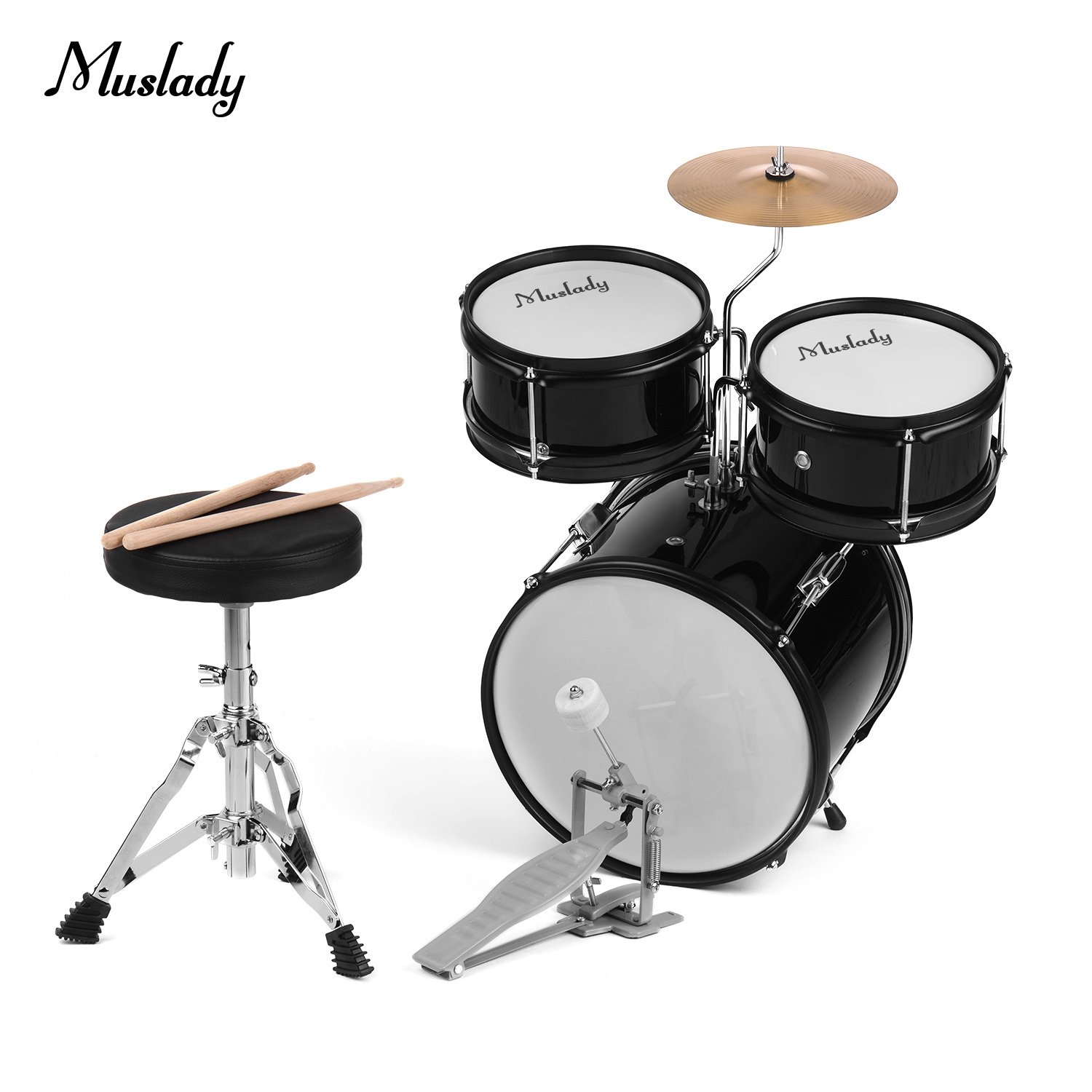 muslady kids junior beginners 3 piece drum set drums kit percussion musical instrument with cymbal drumsticks adjustable stool