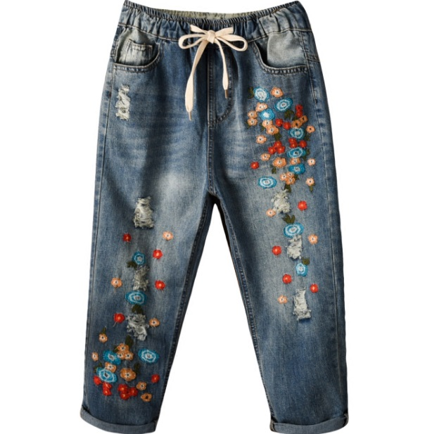 Women Jeans Embroidery Mini Flower Elastic Waist With Drawstrings Harem Pants