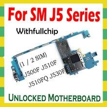 Placa mãe original para samsung galaxy j5 j500f j510f j530f desbloqueado mainboard com chips completos sistema android desbloquear placa lógica