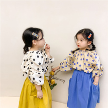 2021 Spring new cute polka dot long sleeve blouses kids girls casual drape loose Tops Clothes