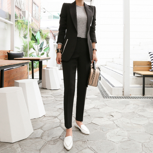 2019 Autumn Black Suit Set Office Two Piece Set Women Single Button Blazer Jacket High Waist Flare Pants Lady Suit Pants