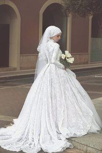 Image 3 - Robe de Mariage Long Sleeve Ball bridal Gown 2018 High Neck Lace Vestido de Noiva robe de mariee mother of the bride dresses