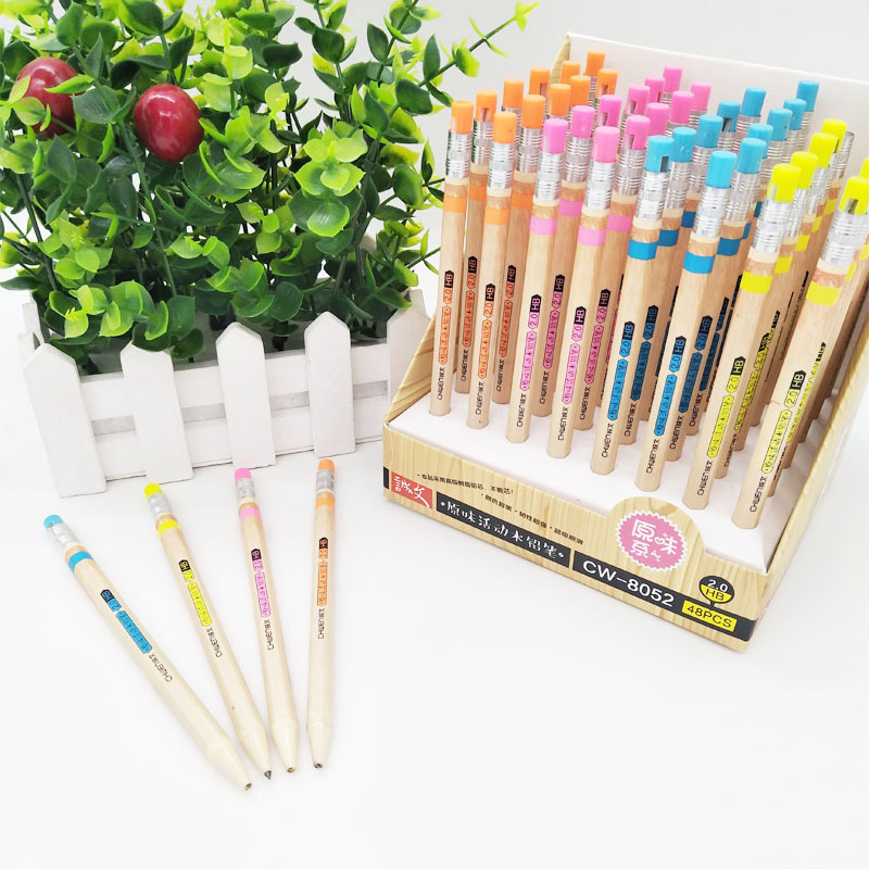 1Pc 2.0mm Cute Mechanical Pencil Kawaii Wooden Automatic Pencils With Sharpener For Kids Gifts School Office Supplies Stationery