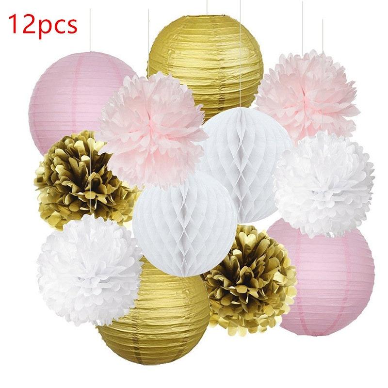 12PCS Mixed Pink Gold White Paper Lantern Honeycomb Ball Tissue Pom Pom Flower Wedding Birthday Girl Nursery Hanging Decoration