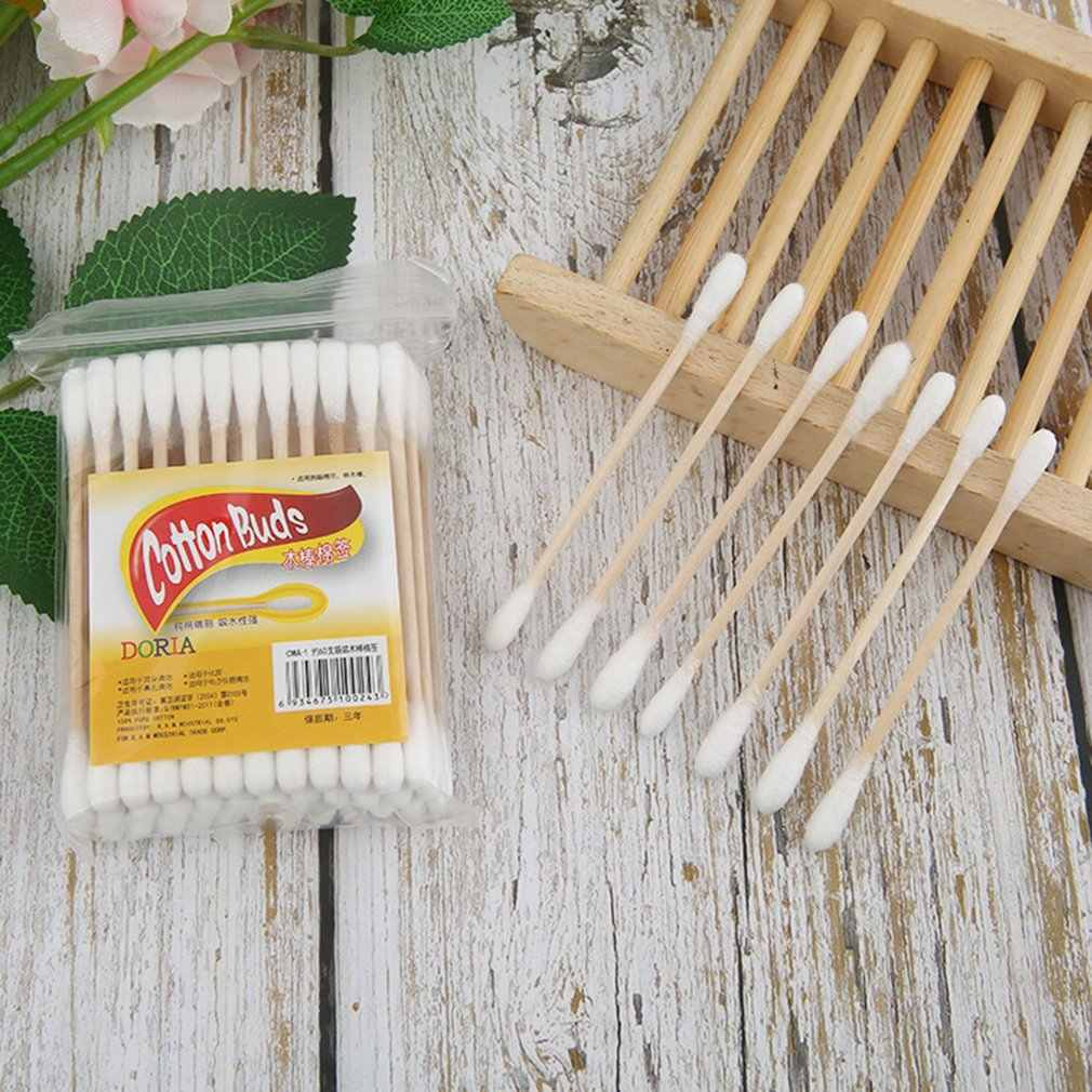 48PCS/Bag Compact Size Natural Cotton Swabs Wood Sticks Nose Ears Cleaning Cosmetics Health Care Cotton Buds