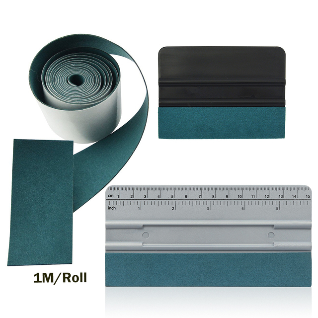Foshio 3Pcs Vinyl Wrap Auto Tool Kit 100Cm Geen Kras Suède Doek Venster Tint Carbon Fiber Kaart Zuigmond schraper Auto Accessoires