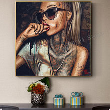Full square, round diamond, diamond painting embroidery sexy tattoo wearing glasses woman 3D DIY Mosaic picture home decor F2578