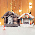 Warm Cozy Pet Bed Foldable lattice Pet House For Dog Cat Soft Kitten Sleeping Pet Nest Kennel Winter Cave for small medium Pet