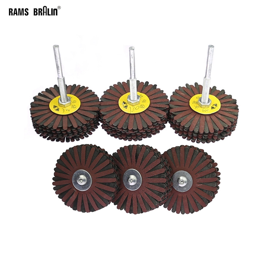 3 Pieces 80*6mm Shaft Mounted Emery Wire Grinding Wheel Radial Abrasive Polishing Brush For Wood Irregular Surface Finish
