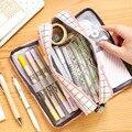 Корейский Большой Вместительный чехол-карандаш для школы для девочек и мальчиков  сумка для ручек  многофункциональная тканевая сумка для ...