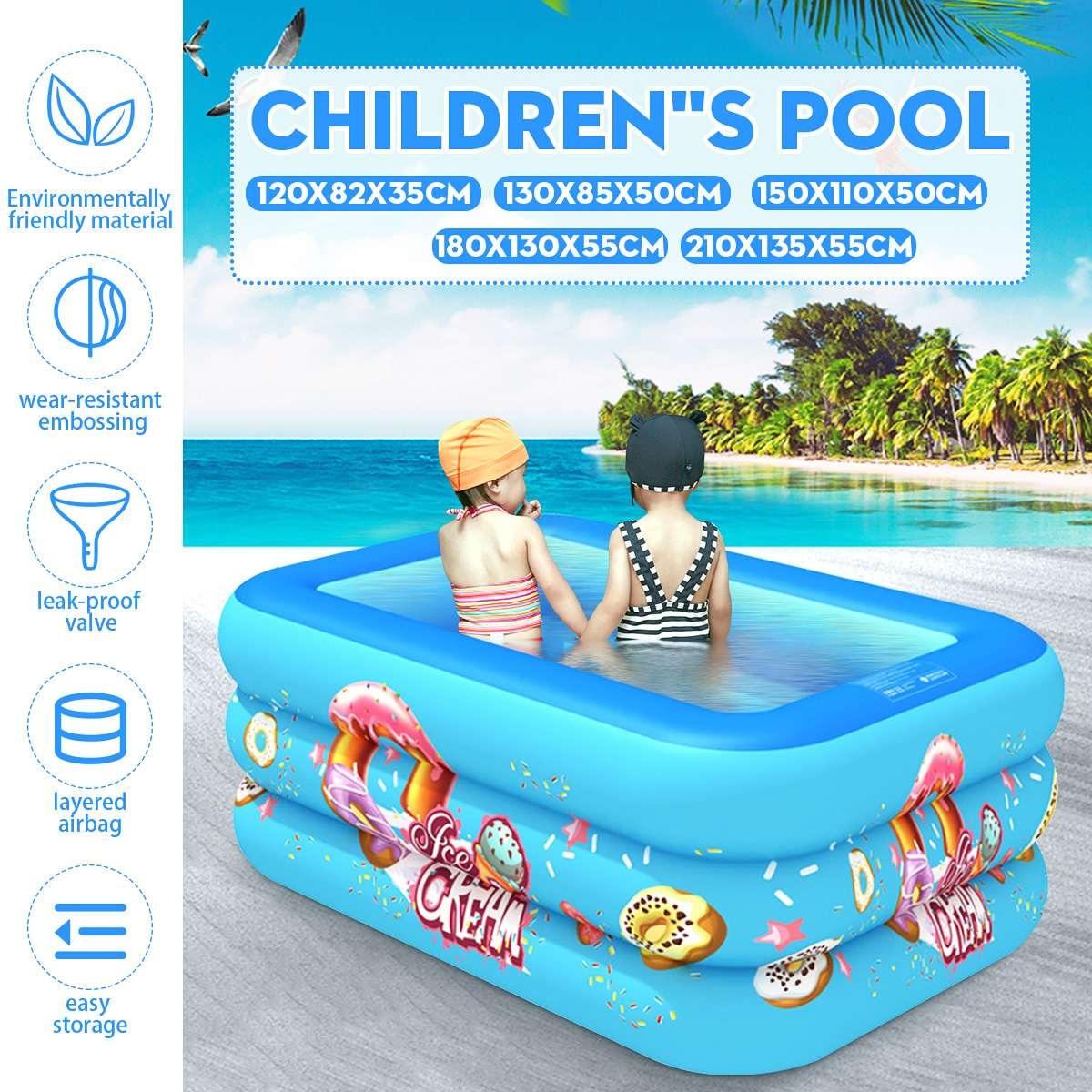 Kids Inflatable Pool Children's Home Use Paddling Pool Large Size Square PVC Swimming Pool For Toddler Non-slip Portable