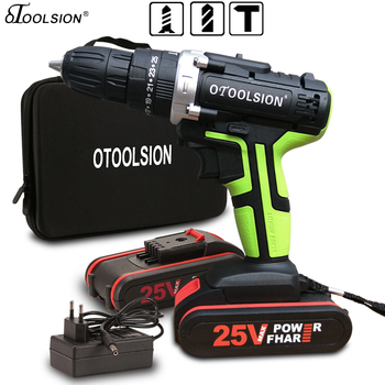 25V Electric Tools Impact Drill Impact Electric Screwdriver Impact Cordless Drill Electric Drill Battery Screwdriver 25+3 Torque drill impact zubr zdu 1100 2 ermm2