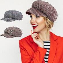 Женский берет газетчика, хлопковая клетчатая кепка, винтажная осенне-зимняя теплая плоская шляпа во французском стиле для дам, повседневные уличные головные уборы 30E