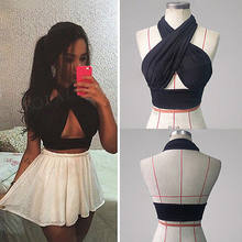 Vrouwen Strappy Cross Over Voorkant Hals Out Vest Tops Halter Mouwloze Casual Cut Zwarte Losse Bandage Zomer Crop Top S-XL()