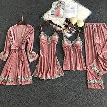 4 Pieces Flannel Winter Pyjamas Women Velvet Bathrobe Sets Pyjamas Women Pink Se