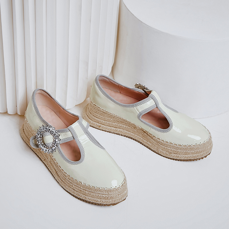 Image 4 - Womens real leather t strap platform flats loafers leisure soft 
