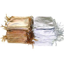 50pcs Jewelry Packing Silver Gold Foil Cloth Drawstring Velvet Bag  7x9cm  Wedding Gift Bags & Pouches