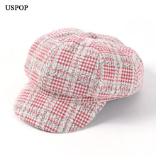 USPOP 2019 New women octagonal hats vintage plaid caps female casual visor cap newsboy Autumn winter