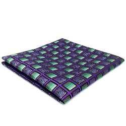 AH10 фиолетовый зеленый Checkes Шелковый Фирменная Новинка модные классические нагрудный Платок для мужчин носовой платок