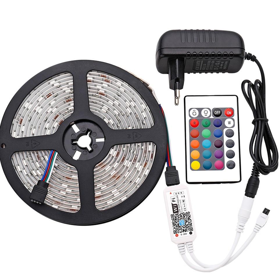 LED Strip Light Smart Christmas Light SMD5050 Flexible Ribbon led strip Alexa RGB Tape Diode DC 12V Remote Wifi Control Adapter (40)