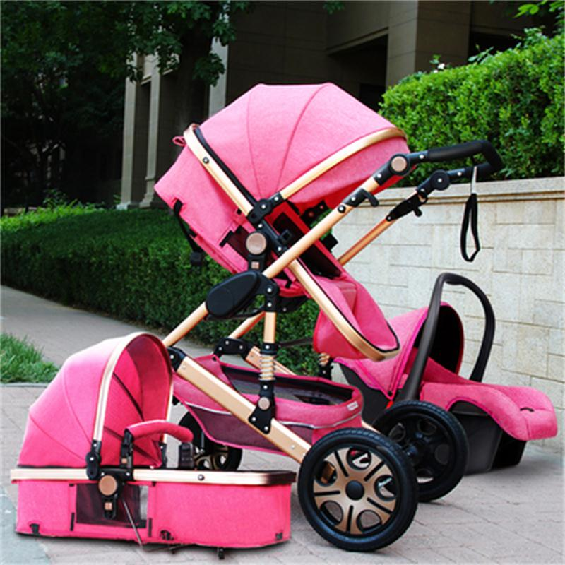 Luxury High landscape stroller <font><b>3</b></font> <font><b>in</b></font> <font><b>1</b></font> <font><b>baby</b></font> stroller two-way light folding shock absorber newborn <font><b>baby</b></font> <font><b>Pram</b></font> can sit reclining image
