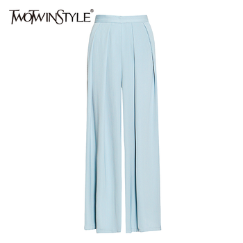TWOTWINSTYLE Loose Ruched Wide Leg Pants For Women High Waist Casual Solid Minimalist Trousers Female 2020 Fashion New Stylish