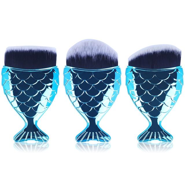 Make Up Brushes Cosmetic Professional Tail Mermaid Holder Shape Makeup Brush Foundation Cosmetic Fish Tools Kit Powder Face 4