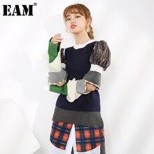 [EAM] Women Plaid Knitting Blue Temperament T-shirt New Round Neck Long Puff Sleeve  Fashion Tide  Spring Summer 2021 1T9230