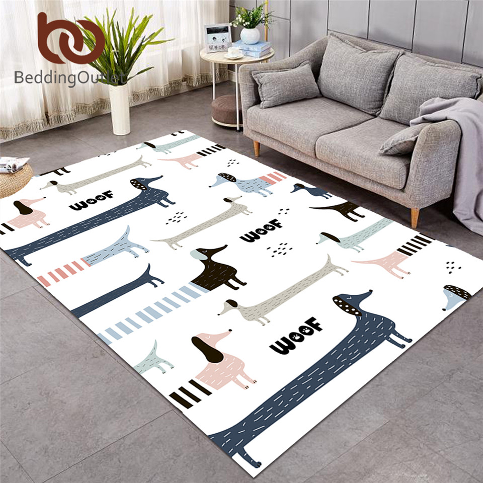 BeddingOutlet Dachshund Large Carpets For Living Room Cute Dog Kids Play Floor Mat Cartoon Animals Area Rug 122x183cm Dropship