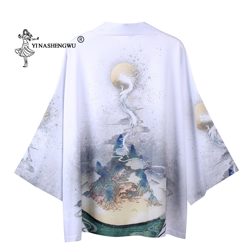 Yukata Women Kimono Cardigan Men Japan Kimono Traditional Unisex Shirt Chinese Style Male Dragon Carp Print Coat Cosplay Costume
