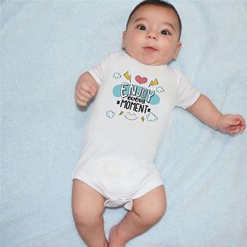 Ciesz się każdą chwilą kombinezon dziecięcy śliczne ubranko dla dziecka body niemowlęce noworodek niemowlę dziecko z krótkim rękawem dla dziewczyny list tanie i dobre opinie COTTON Lycra Modalne Dla dzieci O-neck Unisex Pasuje prawda na wymiar weź swój normalny rozmiar