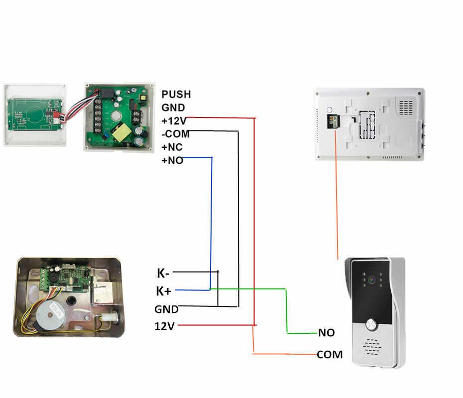 YSECU 7 بوصة 1000TVL HD فيديو إنترفون مع قفل للشقة الرئيسية قفل كهربائي باب التحكم في الوصول 3A زر خروج الطاقة