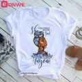 Schönheit Afrikanische Dame Frauen T shirt Afrikanische Schwarz Mädchen Geschichte Monat Weibliche T-shirt Melanin T Hemd, Drop Schiff