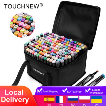 touchnew 40 60 80 168 colors graphic marker pens set sketch manga art student markers white pen Markers TouchNew Drawing Painting Set Sketch Pens Art Markers Brush 20 30 40 60 80 168 Colors Alcohol Based Art Supplies Pen