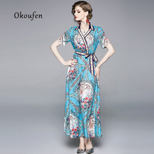 2019 OKOUFEN V-neck short-sleeved blue print lace-up dress blue lace up