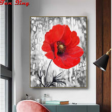 5D Round Diamond Painting Black and White Red poppy Full Square Flowers Embroidery Mosaic Cross Stitch Handmade Gift
